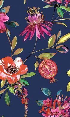 Navy Bright Blossoms Wallpaper by Walls Republic
