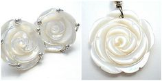 Sterling Silver Rose Set Pendant Earrings Hand Carved Mother of Pearl Jewelry