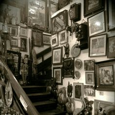 Crowded corner of an antique shop