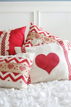 40 Valentine's Day Projects to Sew on Polka Dot Chair - The Rustic Scout - 40 Valentine's Day Projects to Sew on Polka Dot Chair Valentines Day Pillows- sewing patterns and tutorials - Sewing Pillows, Diy Pillows, Decorative Pillows, Throw Pillows, My Funny Valentine, Valentine Day Love, Valentine Day Crafts, Valentine Pillow, Heart Quilt Pattern
