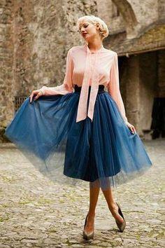 Bloom Skirt Navy Blue