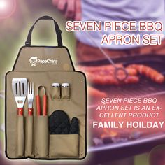 Seven Piece BBQ Apron Set is an excellent product that is nice and easy with some versatile features like frok 38 cm, clip 32.5 cm, shovel 42 cm, oven mitt, salt and pepper shakers, apron with adjustable locking fastener, weight 600 grams, hardwood grip handles, 7 piece bbq set, built in shovel bottle opener that provides good exposure of your company through your customers who use the product thereby promoting your brand name effectively.