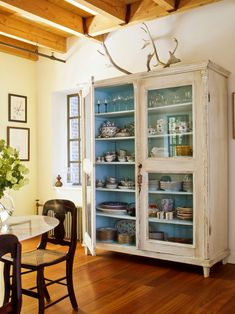for shabby china cabinet - white outside & aqua inside Decor, Country Dining Rooms, Furniture, House, Interior, Painted Furniture, Home, House Styles, Free Standing Cabinets