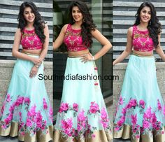 Nikki Galrani in a Floral Lehenga and Crop Top