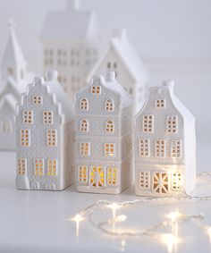 This set of three unglazed porcelain tealight holders makes a delightful gift Largest house 13 x 6 x 6 Christmas Town, Christmas Villages, Noel Christmas, Little Christmas, Christmas Colors, White Christmas, All Things Christmas, Christmas Decorations, Holiday Decor