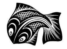 Fish by  M. C. Escher, 1947: Woodcut via images.artnet.com #Fish #M_C_Escher #Woodcut