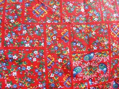 """Vintage fabric#Spring Fabric -Vintage Paisley floral red fabric 1 yd 28"""" THis is now for sale on ebay super cheap...click on the image to be taken to the auction listed on 3-11-15"""
