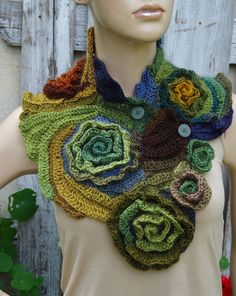 Unique scarf made Freeform crochet method. Warm and pleasant to the touch. Beautiful unique design. Color: shadows olive/green/cream/brown,blue Size: One size fits all  materials used: 100%acrylic premium   lenght about 31,50/9,06 (80/24cm)  Care instruction: hand wash using warm water.  Because of different monitors and screen resolutions, colors may look different on the screen than really.  Like me on Facebook  https://www.facebook.com/Degra.Handmade?ref=hl