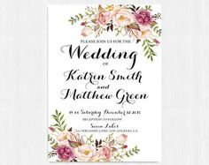 Printable invitation Floral invitation by instanttrends on Etsy