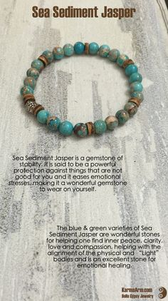 "The blue & green varieties of Sea Sediment Jasper are wonderful stones for helping one find inner peace, clarity, love and compassion, helping with the alignment of the physical and ""Light"" bodies and is an excellent stone for emotional healing.  STABILITY: Sea Sediment Jasper Yoga Mala Bracelet"