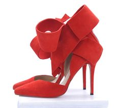 oversize bow ankle strap red pump shoe heels