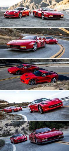 - 1990 Ferrari Testarossa vs 2014 Chevrolet Corvette Stingray  Old Vs New - 1990 Ferrari Testarossa vs the 2014 Chevrolet Corvette Stingray. Personally,I am putting my money of the 1990 Ferrari Testarossa super sports car. What about you, which one do you prefer?  This is a pictorial comparison ... - http://www.ruelspot.com/ferrari/1990-ferrari-testarossa-vs-2014-chevrolet-corvette-stingray/ - #1990FerrariTestarossa #2014ChevroletCorvetteStingray #FerrariTestarossa #ChevyCorvetteStingray
