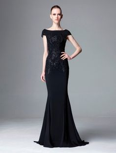 Beautiful formal black gown with lace details❣ Zuhair Murad • fashiondecent.com