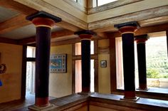 Minoan Civilization / Reconstrcution of a room of the palace of King Minos at Knossos, Crete, c. 1700–1400 bc. Greece