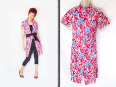 Womens Retro Duster is a Vintage House Dress or Models Coat that can be a Retro Hostess Dress, Cotton Duster Dress, Summer Robe, Small by LunaJunctionVintage on Etsy