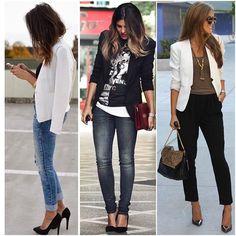 #mulpix O básico é essencial, blazer preto e blazer branco são indispensáveis no guarda-roupa feminino, com eles, uma calça jeans e uma tshirt se completam! #mulheresdebomgosto  #mbg  #consultoriadeestilo  #personalorganizer  #inspiration  #organization  #cool  #lifestyle  #streetstyle  #mood  #trend  #outfit  #lookoftheday  #chic  #style  #fashion  #ootd  #fashionista  #outfitoftheday  #classic  #work  #week  #weekend  #news  #trendy  #tendencia  #superbonita  #mbgindica
