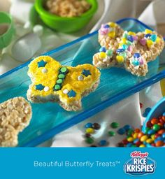 Butterflies are a fun shape for Rice Krispies Treats™! Your kids can give them some color with frosting, sprinkles and brightly colored candies.
