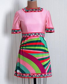 Vintage Pucci Stewardess Dress Braniff Airlines 60s mod uniform vintage fashion history graphic print pink green blue