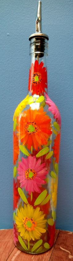 Hand painted decanter up-cycled wine bottle
