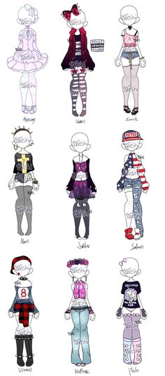 Pastel and Punk Planets || Outfit Adopts [closed] by Tenshilove.deviantart.com on @DeviantArt