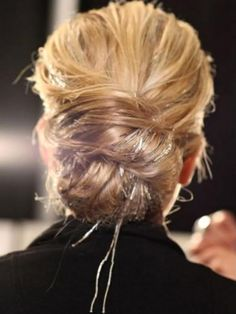cute updo with hair tinsel  http://www.hairflairs.com/content/directions-pro-hair-tinsel