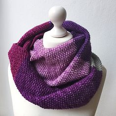 Darß pattern by Lanade | malabrigo Worsted in Holly Hock, Uva, Purple Magic, Cuarzo and Orchid.