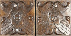 Pair of Early 17th Century Antique Oak Carved Wood Panels with Angels Heads, Circa 1600
