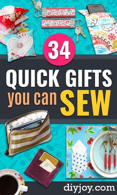 Easy Sewing Projects To Sew For Gifts - Simple Sewing Tutorials and Free Pattern. Easy Sewing Projects To Sew For Gifts – Simple Sewing Tutorials and Free Patterns for Making Chri Easy Sewing Projects, Sewing Projects For Beginners, Sewing Hacks, Sewing Tutorials, Sewing Crafts, Sewing Tips, Diy Crafts, Diy Gifts Sewing, Sewing Ideas