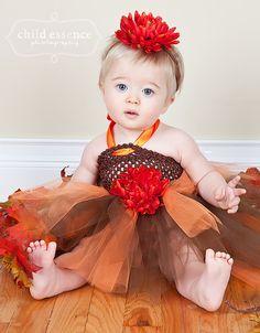 Tutu dress Baby tutu dress and headband with matching flower---Fall thanksgiving tutu dress--Photo props. $27.00, via Etsy.