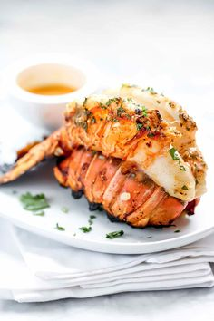 Grilled Lobster Tails w/ Smoked Paprika Butter Bbq Lobster Tails, Cooking Frozen Lobster Tails, Broiled Lobster Tails Recipe, Broil Lobster Tail, Grilled Lobster Tails, Grilled Lobster Recipes, Garlic Recipes, Fish Recipes, Seafood Recipes