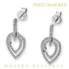 Modern opulence earring in18K White gold with diamonds. Ultra stylish and modern. Do you like it ...?!❤️. #finestdiamonds www.finestdiamonds.com.au