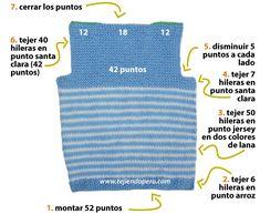 Chaleco con cuello en V para niños - Tejiendo Perú Baby Vest, Baby Cardigan, Baby Boy, Crochet For Boys, Crochet Baby, Vito, Make Design, Couture, Baby Knitting