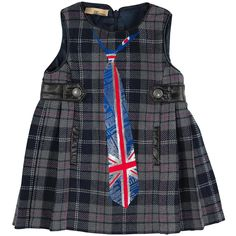 John Galliano Sleeveless grey and navy tartan woollen dress