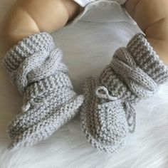 These baby booties are also available in gray