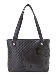 fdc2c4e9acd3 Black Quilted Hello Kitty tote bag  46