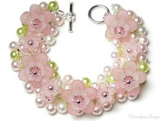 Cherry Blossom Bracelet, Cherry Blossom Pink Flower Swarovski Crystal Pearl Cluster Silver Charm Bracelet, Apple Blossom, New Spring Jewelry by whimsydaisydesigns on Etsy Silver Charm Bracelet, Silver Charms, Apple Blossom Flower, Cherry Blossom, Beaded Jewelry, Beaded Bracelets, Flower Bracelet, Beads And Wire, Beaded Flowers