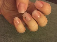 Light pink acrylic with clear gel coat and diamond. #simple #natural #nails…