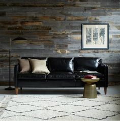 black leather sofa - perfect proportions with a great rug - hamilton leather sofa from west elm