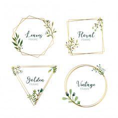 Watercolor leaves in gold frames Free Vector Wedding Logo Design, Wedding Logos, Floral Wedding Invitations, Wedding Cards, Watercolor Leaves, Watercolor Cards, Watercolor Background, Floral Watercolor, Logo Fleur
