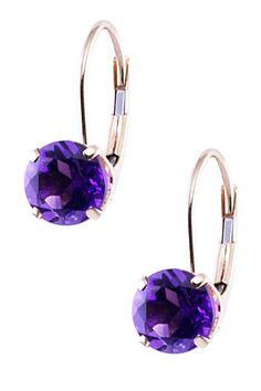 14K Yellow Gold Dark Purple Amethyst Earrings on HauteLook