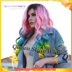 Image result for pastel rainbow lace front wig
