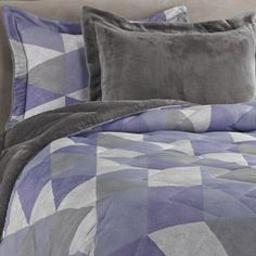 Buy Jun Printed 2-Piece Twin/Twin XL Reversible Plush Down Alternative Comforter Set in Purple from Bed Bath & Beyond