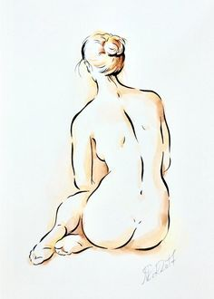Items similar to ORIGINAL nude drawing minimalistic in coffee brown, woman picture ink with watercolor, artistic nude ink drawing coffee brown, gift on Etsy, Male Figure Drawing, Female Drawing, Body Drawing, Woman Drawing, Watercolor Drawing, Girl Drawing Sketches, Ink Drawings, Cool Drawings, Drawing Ideas