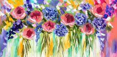 Blossom chorus - original on canvas 75 x150 cm