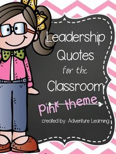 Leave small words of motivation  in a pink theme around your classroom with these 15 inspirational quotes for your students. Posters are black and white theme. with a floral banner on each to tie them together. All poster vary with fonts, all from Fonts from the Pond.