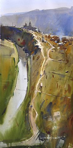 Eugen Chisnicean Eugen was born in 1984 in a small town in the north of the Republic of Moldova. His early interest in art was in. Watercolor Landscape, Watercolor And Ink, Watercolour Painting, Landscape Paintings, Watercolors, Abstract Landscape, City Landscape, Urban Landscape, Time Painting
