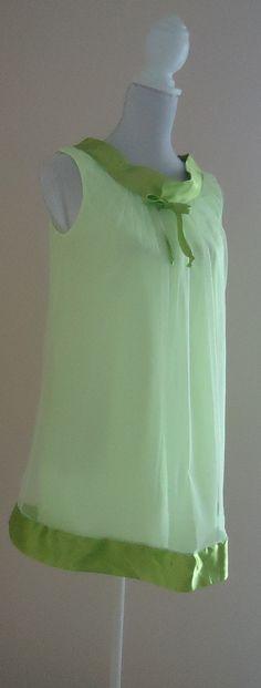 1960s Hamilton Lingerie Lime Green Chiffon/Satin Short Nightgown