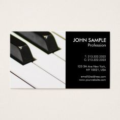Music Piano Teacher Professional Simple Business Card - modern gifts cyo gift ideas personalize