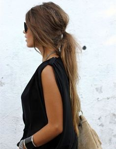 Low Messy Ponytail Hairstyle for brown long hair girls