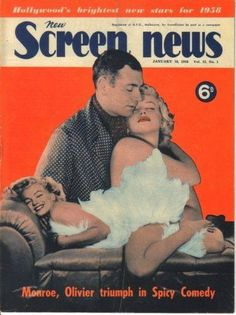 "New Screen News - January 1958, magazine from Australia. Front cover photos of Marilyn Monroe (one with Laurence Oliver in publicity for ""The Prince and The Showgirl), by Milton Greene, 1956. <3"